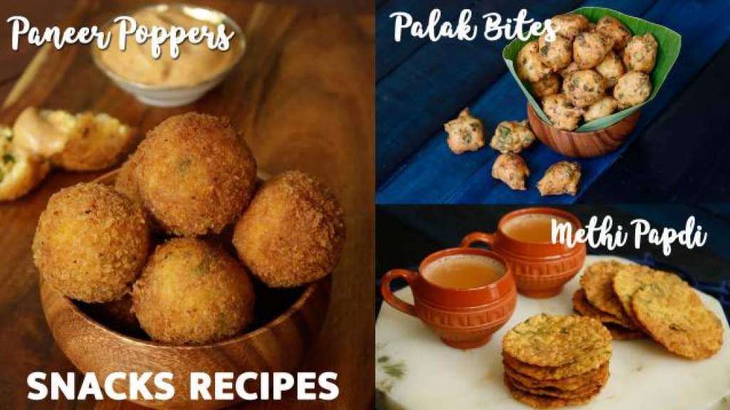 Snacks Recipes  Paneer Poppers  Methi Papdi  Palak Bites