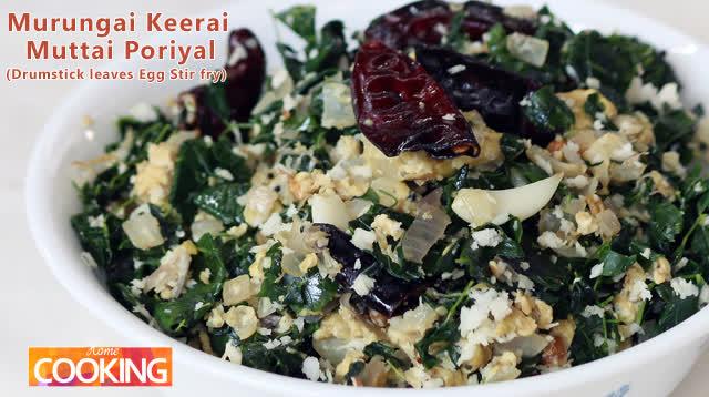 South Indian style - Murungai Keerai Muttai Poriyal (Drumstick leaves Egg Stir fry)