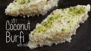 Soft Coconut Burfi with milk